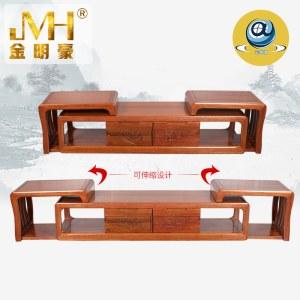 金明豪海棠实木新中式现代伸缩电视柜