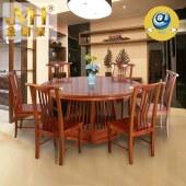 金明豪实木家具现代中式餐厅转盘圆台原木餐桌椅组合