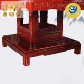 金明豪全屋定制实木家具家居红花梨现代新中式圆桌转盘原木餐桌