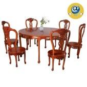 金明豪原木全屋定制新中式实木仿古雕花圆形圆桌餐桌椅